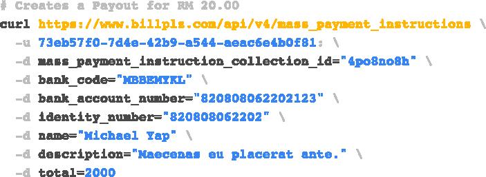 Payout API code sample
